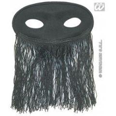 Maske Augenmaske schwarz mit Fadenvorhang - Karneval