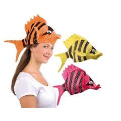 Hut - Fischhut - Fischmütze - gelb - pink- orange (Karneval Fasching)
