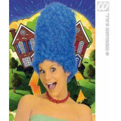 Perücke Turmfrisur - gelockt blau - ca. 43 cm (Erwachsene) - Karneval Fasching