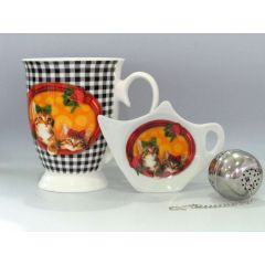 Becher mit Teebeutelablage und Tee-Ei, Design Katze