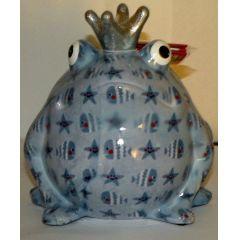 Pomme-Pidou Frosch hellblau mit Seestern und Fische, Spardose