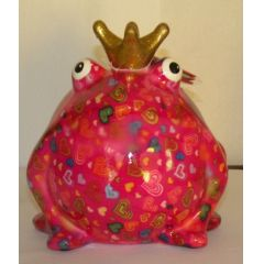 Pomme-Pidou Frosch rot mit Herzen, Spardose