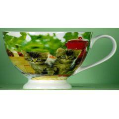 Milchkaffeetasse, Jumbotasse Dekor Katzenkinder
