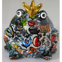 Pomme Pidou Frosch Graffiti mit Vogel, Spardose Design Graffiti