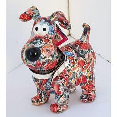 Pomme Pidou Hund Hugo Design rot, bunt mit Blumen
