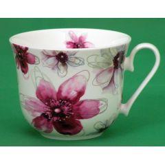 Jameson und Tailor, Jumbotasse Dekor Blüten Pink, Brillantporzellan