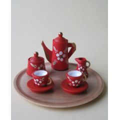Kaffeeservice rot mit Blumen und Tablett rund Miniaturen für Puppenstuben