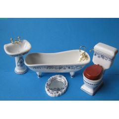 Badezimmer Blau Porzellan Ausstattung 4 Teile  Puppenmöbel 1:12