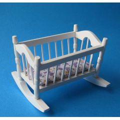 Puppenwiege weiss Puppenhausmöbel Kinderzimmer Miniatur 1:12