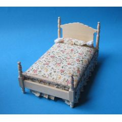 Grosses Puppenbett Schlafzimmer Naturholz  Puppenhausmöbel 1:12
