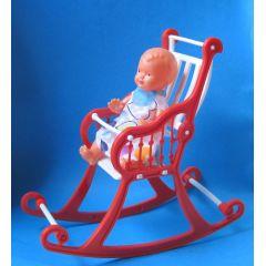 Schaukelstuhl hoch rot mit Puppe  Puppenhausmöbel  Schwenk