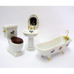 Badezimmer Blüten 4 teiliges Puppenhaus Möbel 1:12  Porzellan