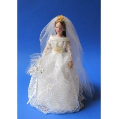 Braut Grace  Puppe für die Puppenstube Miniatur 1:12