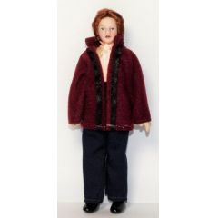 Dame Frau modern mit weinroter Jacke Miniaturen 1:12