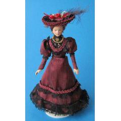 Dame Lady mit Hut im weinroten Kleid Puppe für die Puppenstube Miniatur 1:12