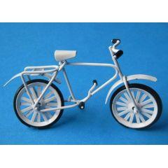 Mini Fahrrad Metall weiss oder rot für das Puppenhaus Miniatur 1:12