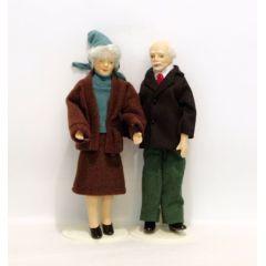 Oma und Opa Großeltern Paar Puppen für die Puppenstube Miniaturen 1:12