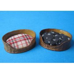 Mini Katzen- oder Hundekorb für Puppenhaus Miniaturen 1:12