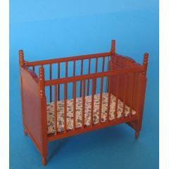 Puppenbett braun mit Matratze Puppenhaus Möbel Kinderzimmer Miniaturen 1:12