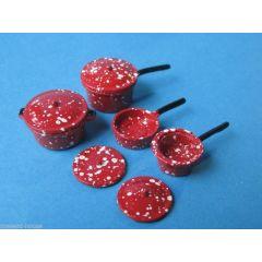 Kochtopf Set  8 tlg. Metall  Puppenhaus Küche Miniaturen 1:12