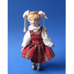 Mädchen mit Zöpfen für Puppenhaus Miniaturen 1:12