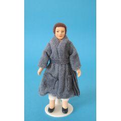 Mann im blauen Bademantel Puppe für Puppenhaus Miniatur 1:12