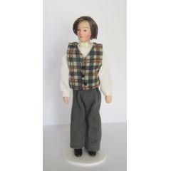 Mann mit karierter Weste Puppe für Puppenhaus Miniaturen 1:12