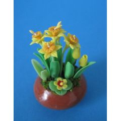 Narzissen und Tulpen in einer Schale Puppenhaus Dekoration Miniatur 1:12