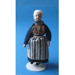 Puppe Grossmutter Oma mit Schürze für die Puppenstube Miniatur 1:12