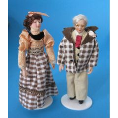 Oma und Opa Paar Puppenhaus Puppen Miniaturen 1:12