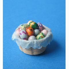 Osterkorb mit bunt bemalten Eiern Puppenhaus Dekoration Miniaturen 1:12