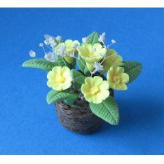 Primeln im Topf gelb Frühlingsblumen Puppenhaus Dekoration Miniatur 1:12