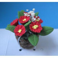 Primeln im Topf rot Frühlingsblumen Puppenhaus Dekoration Miniatur 1:12