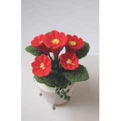 Rote Primeln  im Blumentopf Puppenhaus Miniatur 1:12