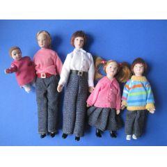 Puppenfamilie  5 Figuren Mutter Vater Kinder Baby modern Miniaturen 1:12