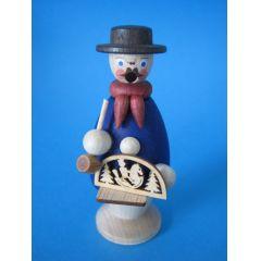 Räuchermann Schwibbogenhändler blau 9 cm Miniatur Holz Handarbeit Erzgebirge Seiffen