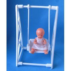 Schaukel weiss mit Puppe  Puppenhausmöbel  Schwenk