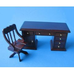 Schreibtisch und Stuhl Mahagoni Puppenhaus Möbel Miniaturen 1:12