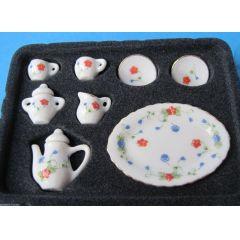 Kaffeeservice rote Blüten 10-teilig Miniatur 1:12 für Puppenhaus