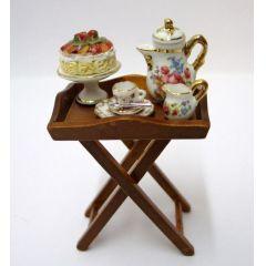 Serviertisch inkl. Porzellan Puppenhaus Möbel Dekoration Miniaturen 1:12