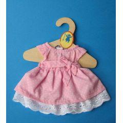 Puppen Sommerkleid rosa mit weissen Punkten