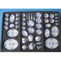Speiseservice und Kaffeeservice Porzellan blau 50 Teile Puppenhaus Miniatur 1:12