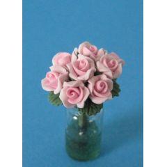 Vase mit rosa Rosen Blumen Puppenhaus Dekoration Miniatur 1:12