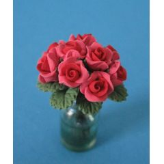 Vase mit roten Rosen Blumen Puppenhaus Dekoration Miniatur 1:12