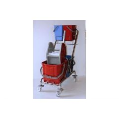 Reinigungswagen chrom Doppelfahrwagen mit Deichselhalter incl. 2 Eimer a 5 Liter und 2 Eimer (rot und blau) 18