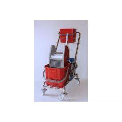 Reinigungswagen Doppelfahrwagen mit Deichselhalter für 1 Eimer a 6 Liter, 2 Eimer (rot und blau) mit