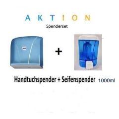 Spenderset bestehend aus Katli blau transparent und 1000 ml Wall Seifenspender blau