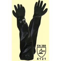Teichpflegehandschuhe / Sandstrahlhandschuhe aus schwarzem PVC Größe M