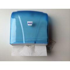 Papierhandtuchspender blau transparent, mit Kunststoffschlüssel