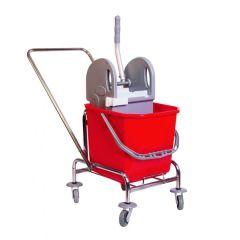 Aura Single Fahrwagen, verchromt mit Deichsel und Presse sowie 1 20 Liter Eimer